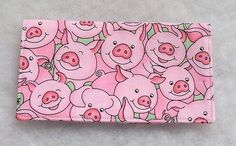 Checkbook Cover Pink Pigs with green by doodlebugquilts on Etsy, $8.00