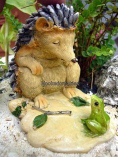 Miniature Garden Sleepy Hedgehog with Frog 4279 Dollhouse Fairy Faerie | eBay