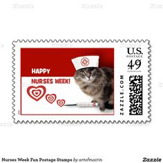 Happy Nurses Week.  Funny Cat design Nurses Week Postage Stamps. Matching Nurses Day and Nurses Week cards in various languages, postage stamps and other products available in the Business Related Holidays / Nurses Day Category of the artofmairin store at zazzle.com