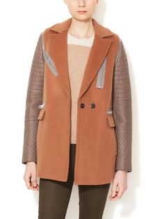 Wool Coat with Leather Sleeves | Rebecca Taylor