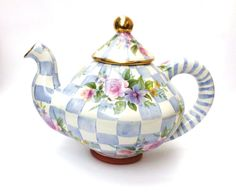 MacKenzie-Childs Blue and White Morning Glory Teapot-retired 2010,  no longer available