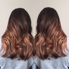 Brunette to copper balayage. Hair by Ashley at Dean Sadler Hair Studio