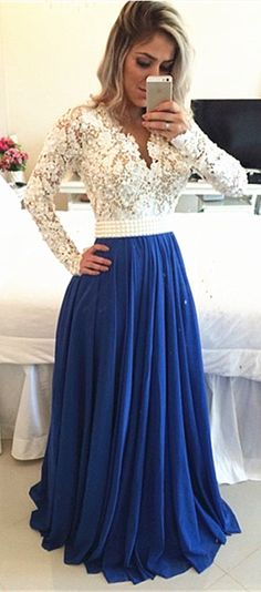 White Lace Top and Royal Blue Chiffon Bottom. Perfect Long Sleeve Evening Dress for Autumn and Winter. Which two colors will you choose to match on this Prom Dress 2016? suzhoudress.com