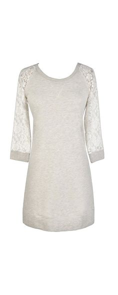 5ed8419f8f7 Lace Sleeves Sweatshirt Tunic in Heather Grey
