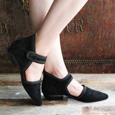 F-TROUPE - Suede Maryjane Shoes (Black) / エフトゥループ・ストラップシューズ
