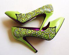 Hand painted heels  Lemon and Lime Twist   Customize by kezbirdie, £85.00