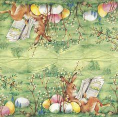 3 Mouchoirs en papier Pâques Lapin Journal - Paper Hankies Easter Serviette