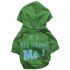 Pet ShirtHaoricu Hot SaleWinter Puppy Its All about Me Letter Print Soft Dogs Coat For Small Dogs Jumpsuit M Green >>> Read more reviews of the product by visiting the link on the image.