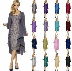 Mother of the Bride Dress Fornal Outfit Bridesmaid Chiffon Jacket + Lace Dress in Clothing, Shoes, Accessories, Wedding, Bridesmaids' & Formal Dresses Evening Party Gowns, Evening Dresses For Weddings, Formal Evening Dresses, Dress Formal, Shrug For Dresses, Ball Dresses, Ball Gowns, Dresses Dresses, Hippie Dresses