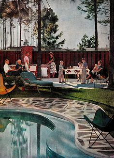 """Letcher & Chris Johnson's Pool in Jacksonville, FL """"The American Home"""" magazine May 1956 Mid Century House, Mid Century Style, Look Vintage, Googie, Mid Century Modern Design, Cool House Designs, House And Home Magazine, The Good Old Days, Mid-century Modern"""