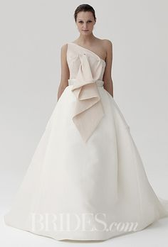 A gorgeous, two-toned @peterlangner wedding dress | Brides.com
