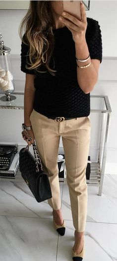 #fall #outfits woman's black crew-neck t-shirt and khaki fitted pants