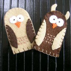 vintage  felt finger puppets | Set of Owl Finger Puppets for Children