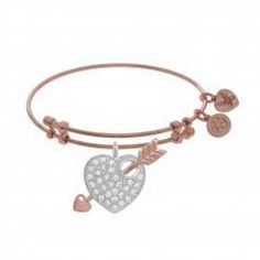 Rose tone brass Angelica bangle with Heart and arrow charm accented in cubic zirconia Designer:Royal Chain $ 32.00 Item #: YC7X5V Call 870-863-8818 for personal consultation.