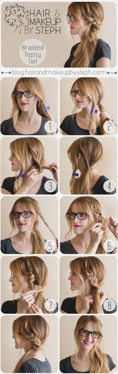 9 tutoriels coiffure tresse que vous n'aviez encore jamais vus How To Make a Boho Braided Topsy Tail (Step by Step)_Girl Hairstyle Tutorials Step by Step Guides Braided Hairstyles Tutorials, Cool Hairstyles, Easy Hairstyle, Hairstyle Ideas, Fashion Hairstyles, Beautiful Hairstyles, Hairstyles For Greasy Hair, Side Ponytail Hairstyles, Ponytail Ideas