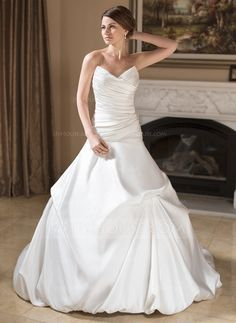 Wedding Dresses - $224.99 - Ball-Gown Sweetheart Chapel Train Satin Wedding Dress With Ruffle (002011779) http://jjshouse.com/Ball-Gown-Sweetheart-Chapel-Train-Satin-Wedding-Dress-With-Ruffle-002011779-g11779