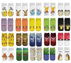 2016 New Arrival Kawaii Harajuku Pokemon Pikachu Socks 3D Printed Cartoon Women's Low Cut Ankle Socks Novelty Casual Socks Meias