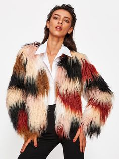 a514c5342a SheIn offers Faux Fur Open Front Coat & more to fit your fashionable needs.