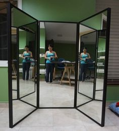 Successful three way mirror! Super easy. 3 cheap full length mirrors ...