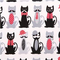 Pajama pants for John. Boy cats!!! white Timeless Treasures mustache cat animal fabric USA