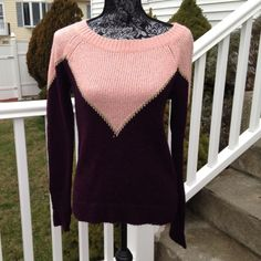 Beautiful new plum and dusty rose sweater. Princess Vera Wang sweater looks great on. Gold trim on front as pictured. Princess Vera Wang Sweaters Crew & Scoop Necks
