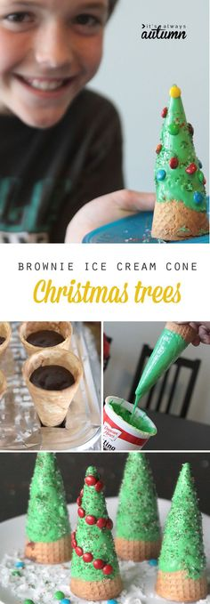 So fun! Bake brownies into ice cream cones, then decorate them to look like Christmas trees! Click through for the easy instructions.
