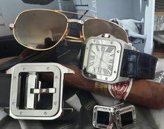 Cartier Santos 100 watch. Cartier Santos belt. Cartier Santos  cufflinks. 1986 cartier Santos romance sunglasses .