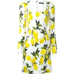 Dolce & Gabbana lemon print dress (7 325 PLN) ❤ liked on Polyvore featuring dresses, white, white print dress, lemon print dress, long sleeve print dress, square neckline dress and white long-sleeve dresses