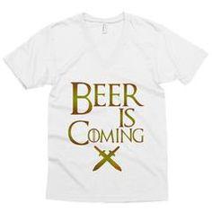 Beer is Coming Unisex v-neck