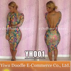 2014 new style slit open sexy Print bandage dress bodycon long-sleeve party evening dresses for women clubwear $13.99
