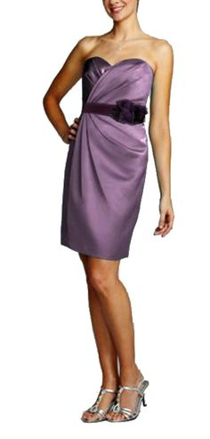 Strapless Satin Short Dress with Pleating Style F15103 in Wisteria color. With mix media sash in plum color. David's Bridal