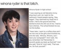 I love Winona Ryder so much. this kind of behavior is not okay but she shows that despite the teasing and abuse and injustice, someone can be amazing and successful Millie Bobby Brown, Stranger Things Funny, Stranger Things Have Happened, Winona Ryder Movies, Winona Ryder Heathers, Old Disney Characters, Chloe, Winona Forever, Steve Harrington