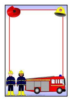 Fire Service Page Borders Fireman Birthday, Fireman Party, Kindergarten Portfolio, Fine Motor Activities For Kids, Scrapbook Frames, Page Borders, Borders For Paper, Writing Paper, Fire Trucks