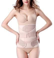 121b99e2bb3 Chongerfei 3 in 1 Postpartum Support Recovery Belly Wrap Waist Pelvis Belt  Body Shaper Postnatal Shapewear (Plus Size for Weight Over Beige)