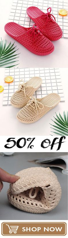 Crochet slippers - Summer Comfy Breathable Beach Home Hollow Out Sandals Slippers Knit Shoes, Crochet Shoes, Crochet Baby Booties, Crochet Slippers, Wedge Heel Sneakers, Crochet Mask, Summer Slippers, Crochet Woman, Beach Shoes