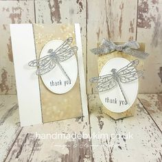 Thank you card & Treat Bag feat. Falling In Love Designer Series Paper & Detailed Dragonfly Thinlits Dies by Stampin' Up! featured in Kylie Bertucci's blog highlight. Stampin' Up! demonstrator Kim Price from Somerset, UK