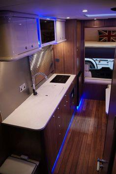 Nice kitchen inside of my new Oakley! Horse Box Conversion, Sprinter Van Conversion, Camper Van Conversion Diy, Boat Interior, Truck Interior, Horse Transport, Stock Trailer, House On Wheels, Cool Kitchens