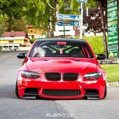BMW E92 M3 red slammed