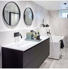 We love our marble bathroom! This month you can check it out in with the rest of our house. Photo by Sveinung Bråthen. Marble Bathroom, Vanity, Guest Bathroom, Bathroom Mirror, Round Mirror Bathroom, Modern Bathroom, Bathroom, Bathroom Inspo, Bathroom Design