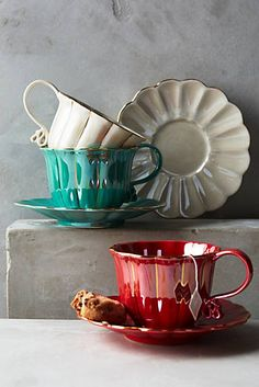 Anthropologie - Philomena Cup & Saucer ~ Ribbon candy curls and gleaming bands give this fanciful cup and saucer the feeling of enchantment Tea Cup Saucer, Tea Cups, Vintage Tee, Café Chocolate, Bohemian Kitchen, Décor Boho, Teapots And Cups, Mug Cup, Ceramic Pottery