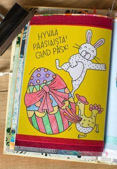 Postin lähettämä väritettävä kortti väritetty ja liimattu art journaliin.