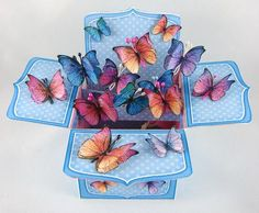 Fluttery Butterflies Rubber Band Pop Up Box Card - Craftsuprint designed by Carol Clarke - made by Carolyn Norris. Butterflies printed twice to make double wings. Card In A Box, Pop Up Box Cards, 3d Cards, Card Boxes, Fancy Fold Cards, Folded Cards, Box Cards Tutorial, Exploding Box Card, Up Book