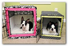 """For the dogs:  custom crate covers & bumper  pads. For cover, measure & cut fabric 2"""" bigger. Cut 5 pieces: Front, Back, Top, & 2 Sides. Pin & sew. Measure for door. Cut it out & trim with ribbon. Then hem. Cute!"""