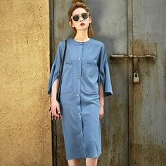 2016 Европейский и Американский стиль Новая Мода длинный участок седьмая труба рукав платье рубашка женская оптовая 7315купить в магазине SoonyourнаAliExpress