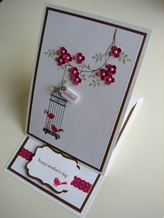 ♥♥♥ this card featuring the Stampin' Up! Aviary stamp set and Decorative Label punch. So cute! Tweet tweet!!!