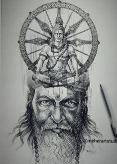 Shiva Art, Krishna Art, Hindu Art, Dance Paintings, Indian Art Paintings, Indian Artwork, Black Pen Sketches, Lord Shiva Sketch, Mahadev Tattoo