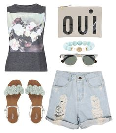 """Summer feelings"" by nicolesynth ❤ liked on Polyvore featuring And Finally, Clare V., Devoted, Ray-Ban, women's clothing, women's fashion, women, female, woman and misses"