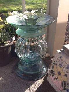 Beach glass green recycled glass bird bath garden totem. by jana