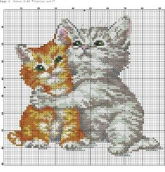 32 Ideas for embroidery cat pattern pictures Cat Cross Stitches, Cross Stitch Baby, Cross Stitch Animals, Cross Stitch Flowers, Cross Stitch Charts, Cross Stitch Designs, Cross Stitching, Cross Stitch Embroidery, Embroidery Patterns