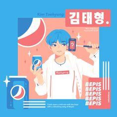 V * fan art - Pepsi Bts Taehyung, Bts Bangtan Boy, Taehyung Fanart, Bangtan Bomb, Namjoon, Arte Copic, Bts Anime, Dibujos Cute, Bts Drawings
